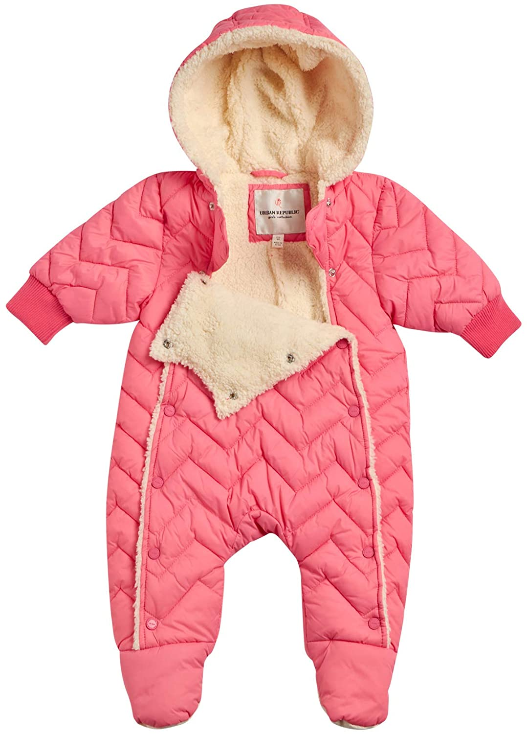 Newborn Urban Republic Baby Girls Pram Snowsuit with Full Sherpa Lining