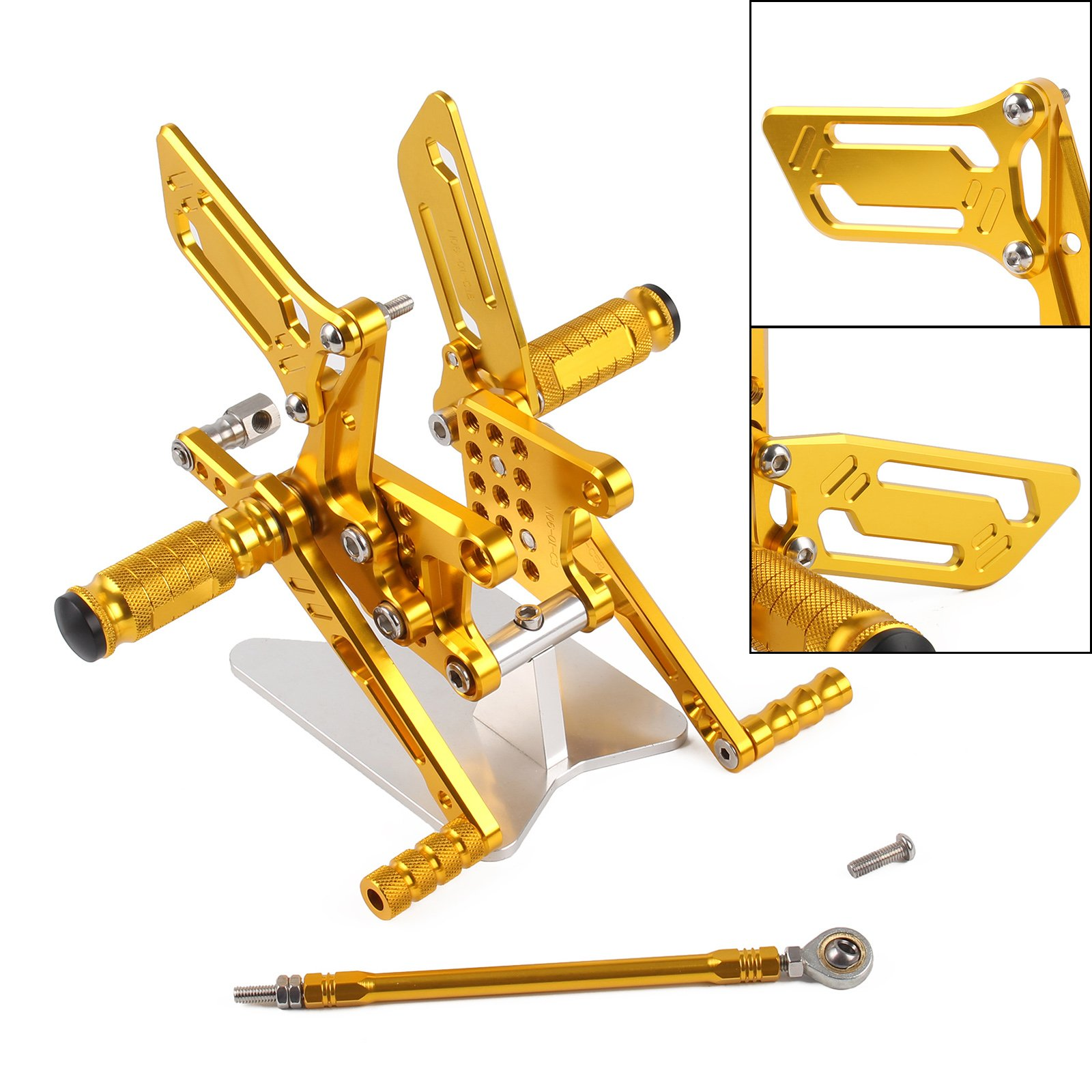 NEVERLAND Adjustable Rearset Rear Set Foot Pegs Adjustable for Suzuki GSXR600/750/1000 00-04 SV650/S 03-08 Gold