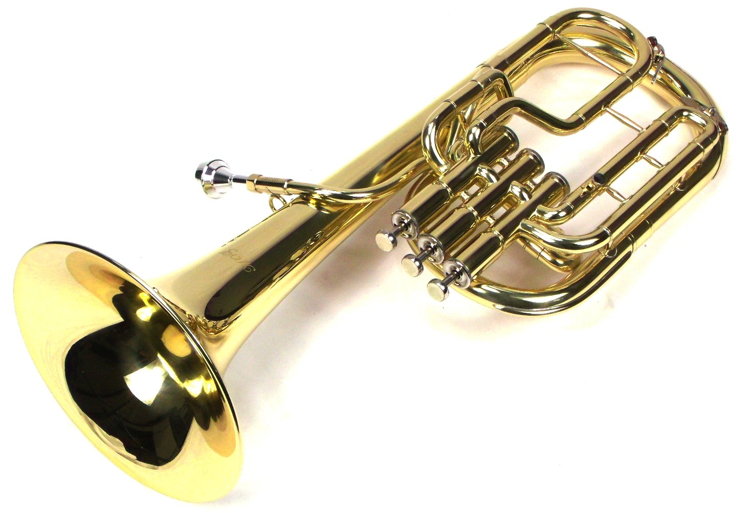 Intermediate Monel Pistons Alto Horn w/Case & Mouthpiece-Gold Lacquer Finish by Moz (Image #3)