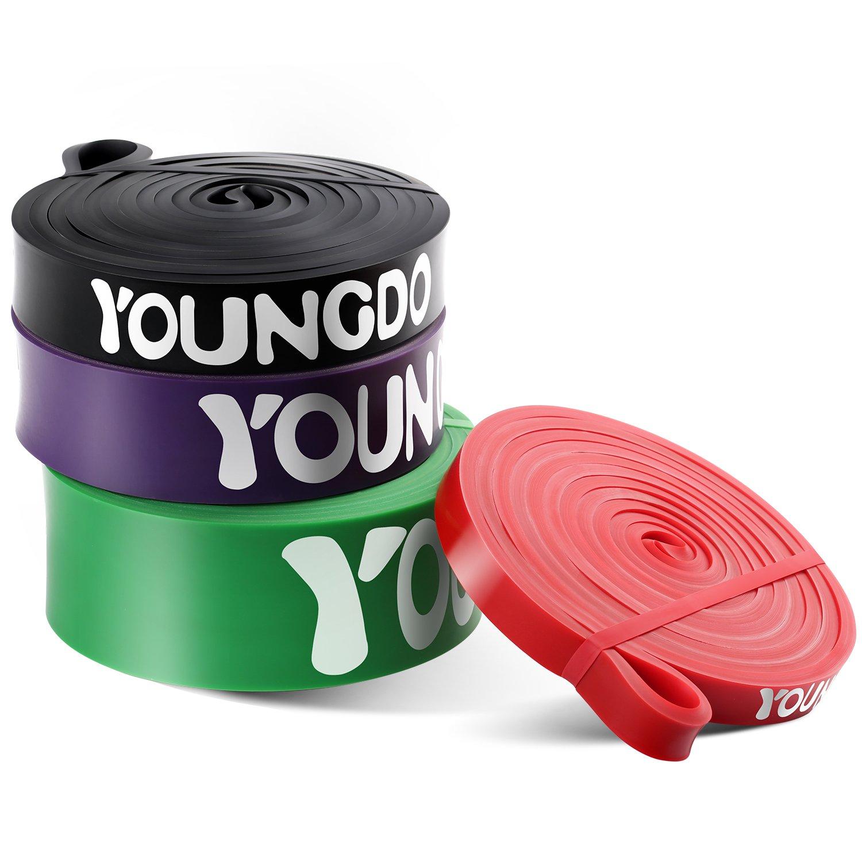 Youngdo Fitnessbänder, Widerstandsband Set zur Bodybuilding, Gewichtsabnahme, Krafttraining, 4 Stärken und 5 Farben und mit Tasche product image