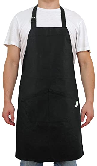 Delightful Deconovo Stiff Bib Apron Chef Kitchen Apron With Pockets And Adjustable  Neck Straps 100% Cotton