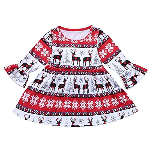 16f3eac77141 Amazon.com: Woaills-Tops 2018 New!!Toddler Infant Baby Outfits,Girls  Christmas Xmas Cartoon Deers Print Dresses: Clothing