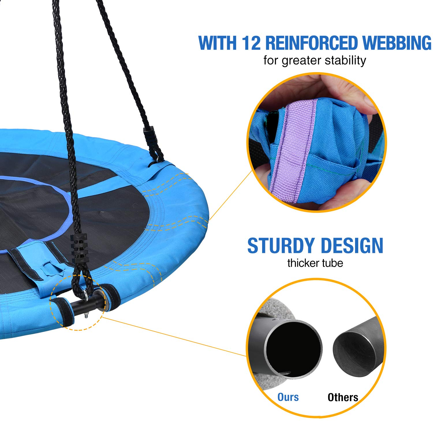 Trekassy 700lb Saucer Tree Swing for Kids Adults 40 Inch 900D Oxford Waterproof Frame with 2 Hanging Straps by Trekassy (Image #3)