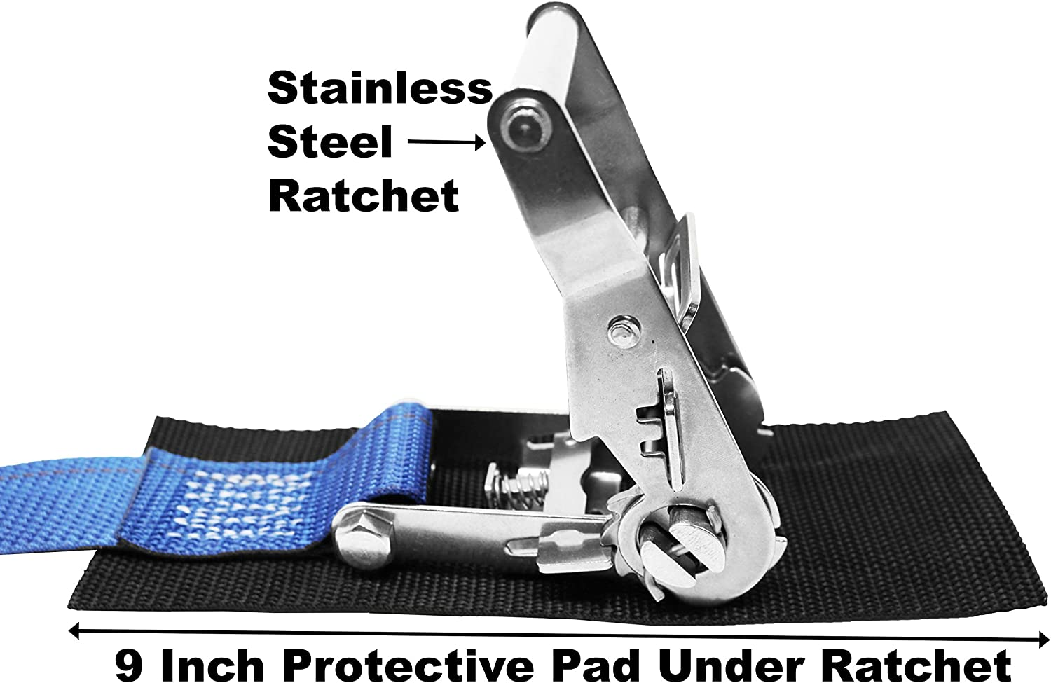 Polyester Tie-Down Webbing 1.5 Inch Ratchet Strap Stainless Steel Ratchet with Wide Handle Protective Pad Under Buckle Total Strap Length 10 Ft Vinyl Coated S Hook On Both Ends