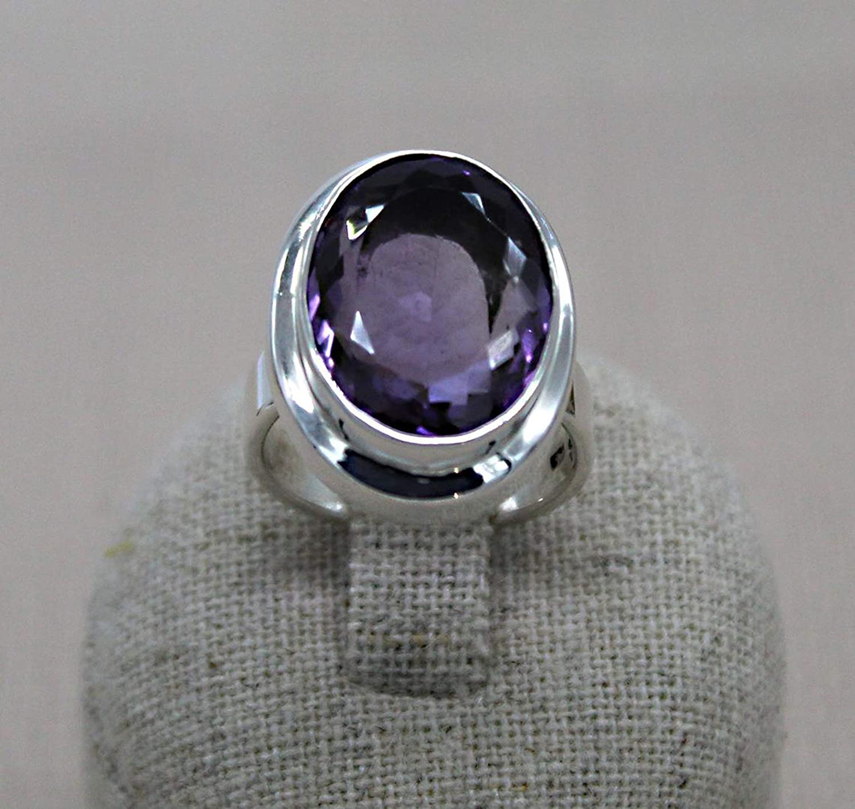 Tamaño del anillo de amatista 13. Anillo de plata 925. Anillo de piedra facetada. Anillo violeta. Anillo Boho Chic