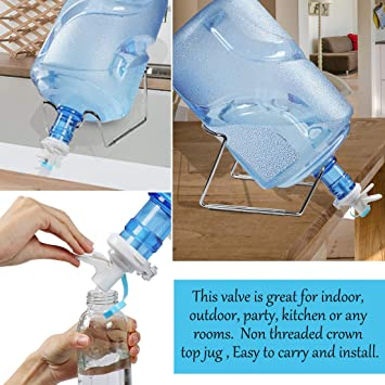 uxcell Water Dispenser Valve Reusable Bottle Faucet with Lid Protector Fit for Non Thread 55mm Diameter Home Office Drink Jugs