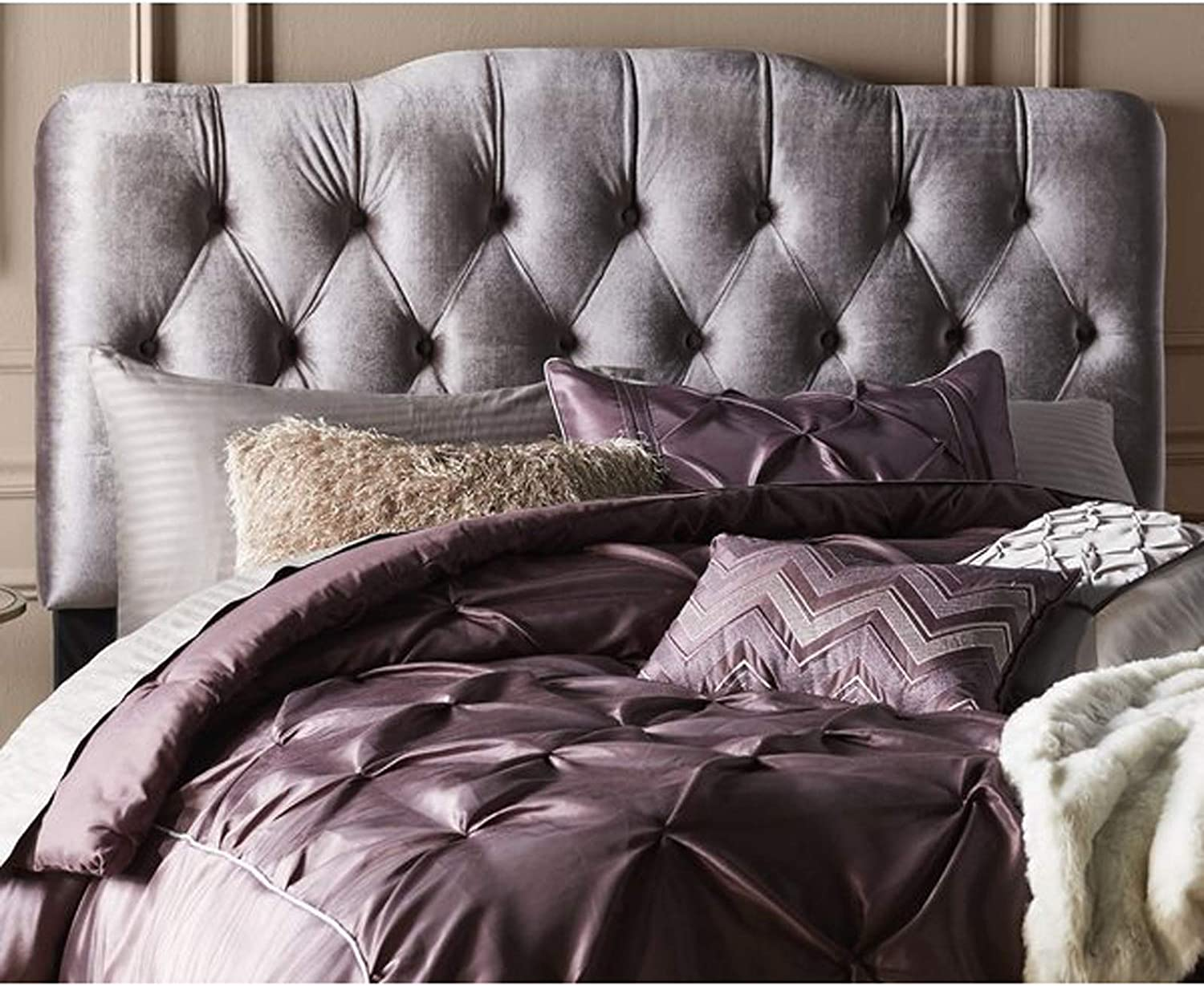 Upholstered Panel Headboard Button Tufted Velvet Headboard Accent Contemporary Bedroom Furniture King Gray Amazon Com