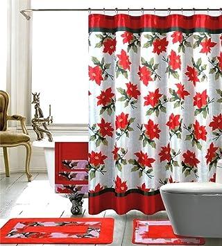 Seasonu0027s Greetings 18 Piece Embroidery Bath Set 1 Bath Mat , 1 Contour Mat  , 1