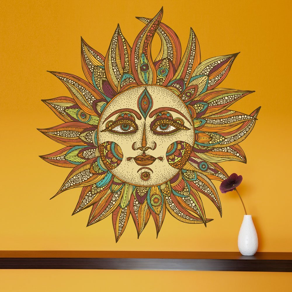 Amazon.com: My Wonderful Walls Helios Celestial Sun Art Wall Sticker ...