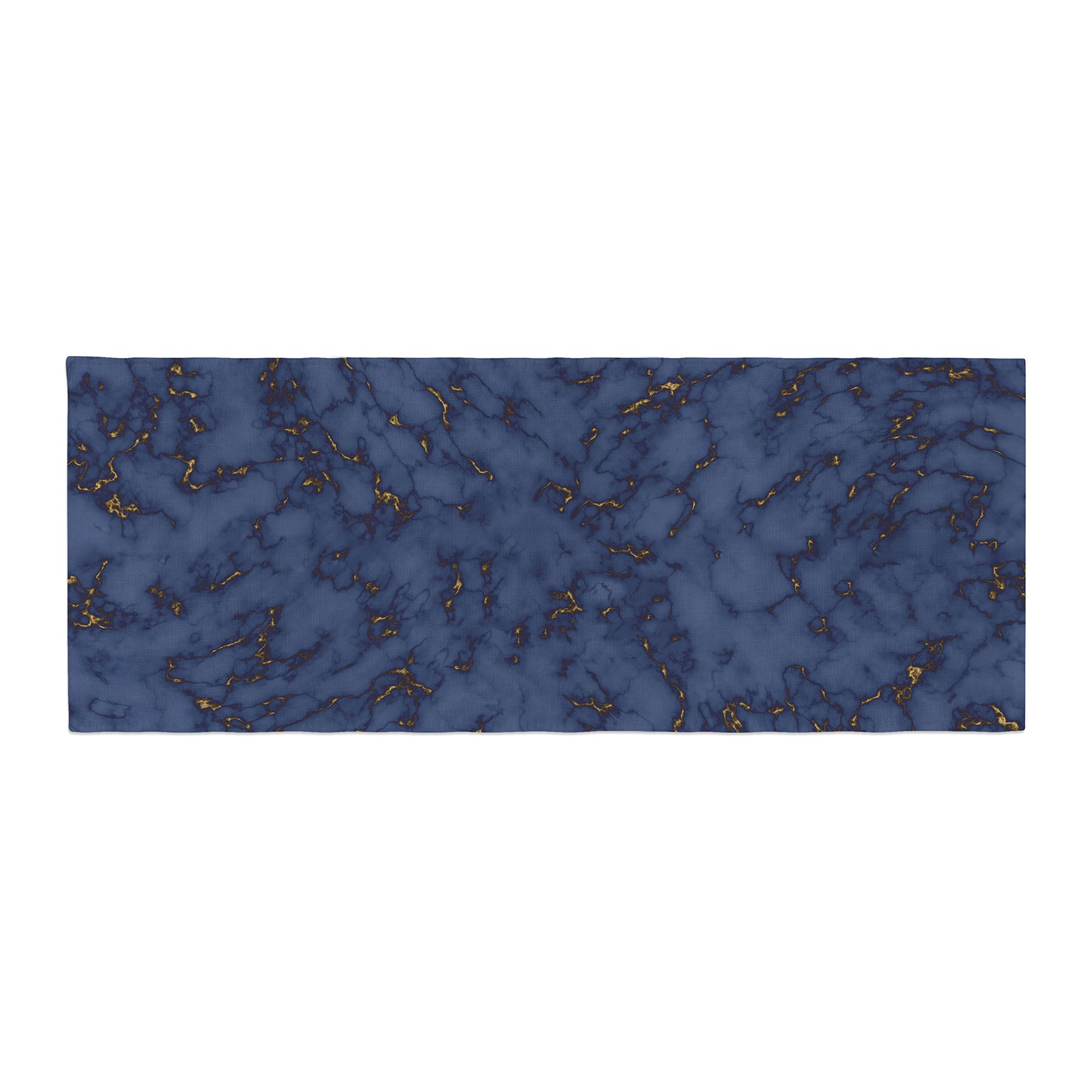 Kess InHouse Will Wild Blue & Gold Marble Navy Abstract Bed Runner, 34'' x 86''