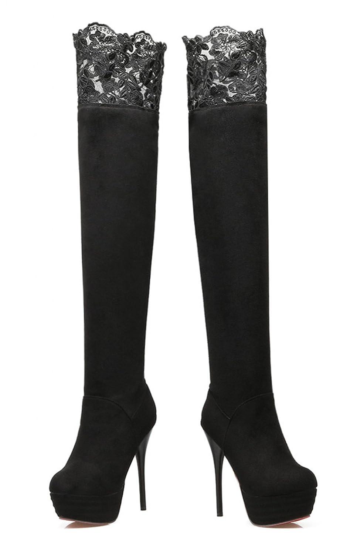 YE Damen Overknee Stiefel Stiletto High Heels Plateau mit Spitze und 13cm  Absatz Elegant Party Schuhe (EU37  China Größe37  Fußlänge23.5 cm, ... 38863fcb57