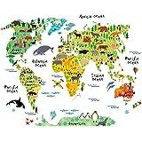 Map Tapestry for Kids Educational, Animal Landmarks World Map Wall Hanging for Bedroom Living Room Dorm, 60 x 50