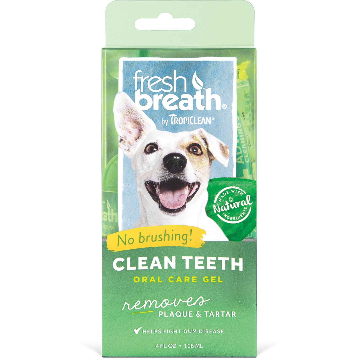 Tropiclean Fresh Breath No Brushing Dental Care Plaque Remover Gel For Dogs, 4 oz, PLUS DENTAL CHEW