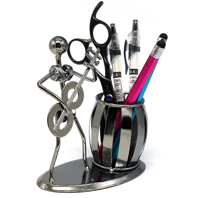 Metal Art Crafts lápiz bolígrafo soporte para bolígrafo organizador de escritorio soporte decorativo guitarra tema escritorio organizador de suministro por ...