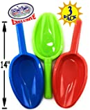 "Matty's Toy Stop 14"" Kids Long Handle Sand Scoop Plastic Shovels for Sand & Beach (Red, Blue & Green) Complete Gift Set Bundle - 3 Pack"