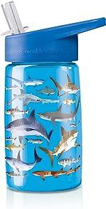 Crocodile Creek Sharks Drinking Bottle, Blue/Tan/White