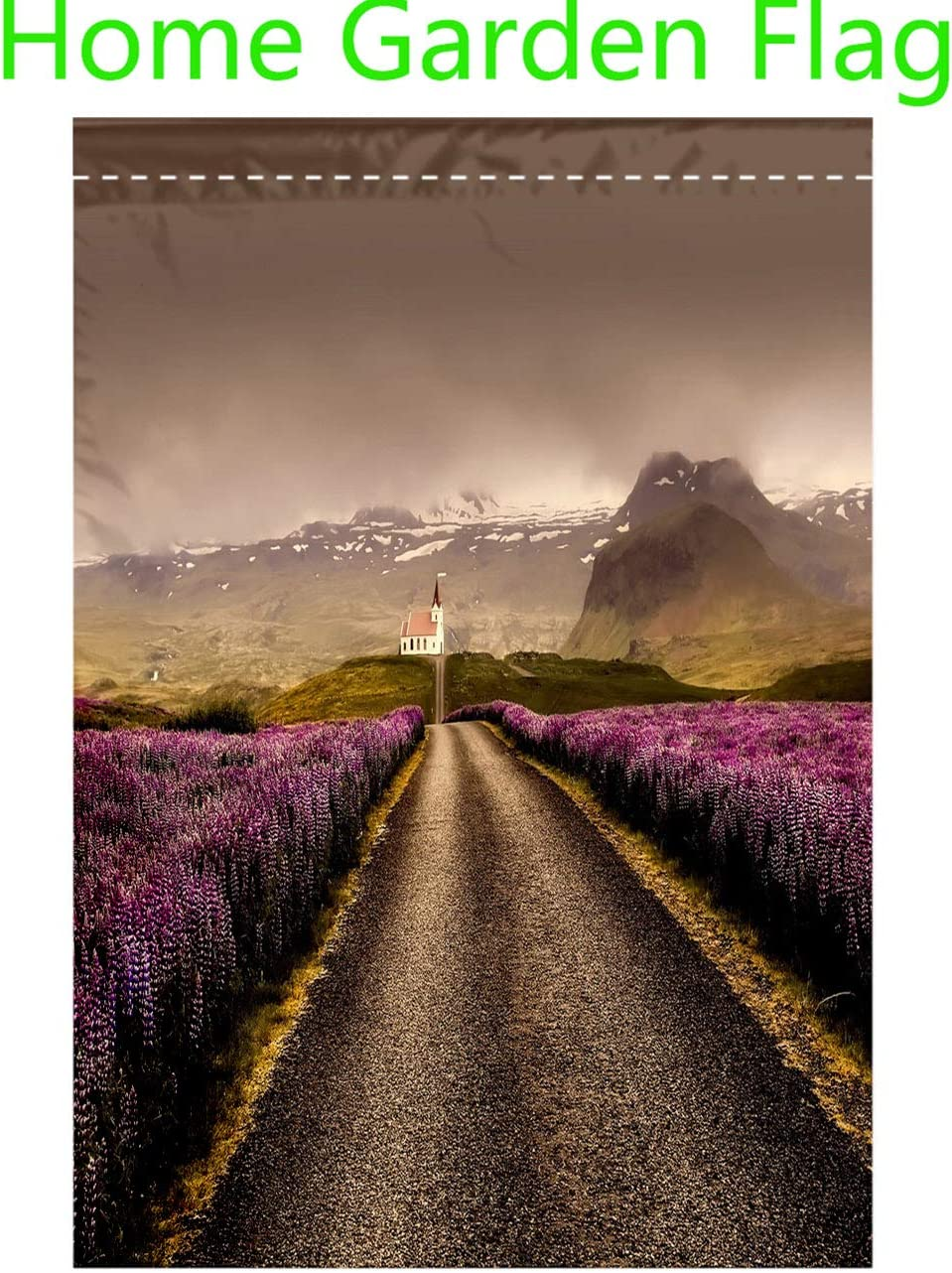 RLDRESS Home Welcome Garden Flag Vertical Double Sided Iceland Flowers Landscape Road Nature Outdoor Rural Colorful Outdoor Flags Festive Flags for Lawn Yard Decor-Polyester 20x36 inch