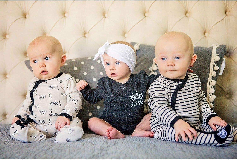 Baby Boys 3-Pack Long-Sleeve Kimono Bodysuit Set Side Snap Onesie Infant Bundle.