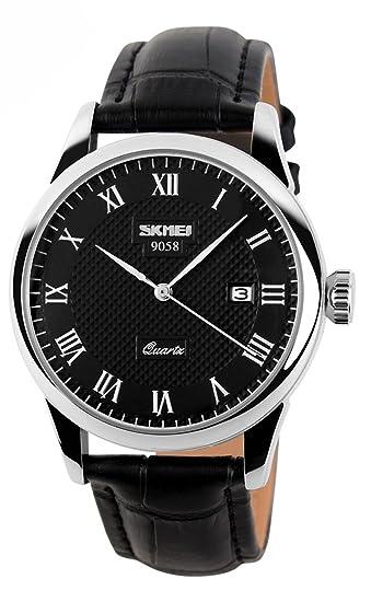 Hombres impermeable cuarzo fecha pantalla negro correa de piel relojes Skmei 9058: Amazon.es: Relojes