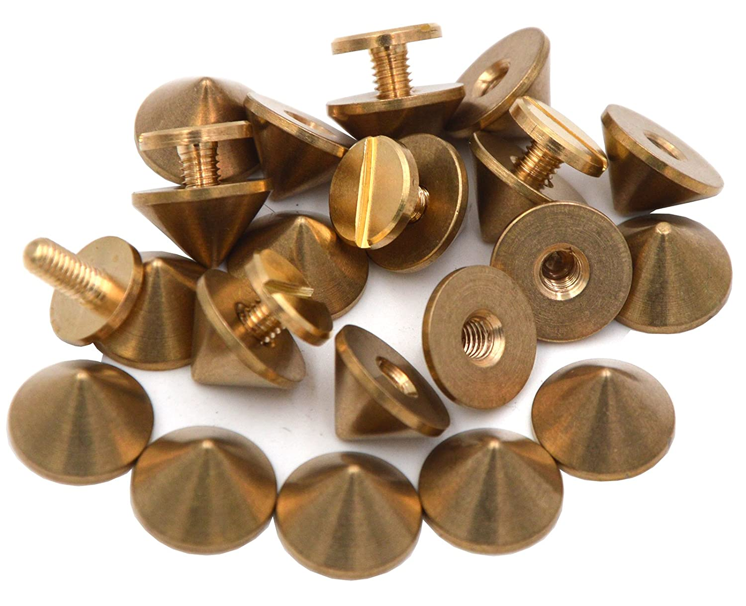 Okones Pack of 20, Solid Brass Tree Spike Studs and Spikes Metalic Screw Rivets Nails Button for Leathercraft Punk DIY (1/3''×1/2''tall Spikes)