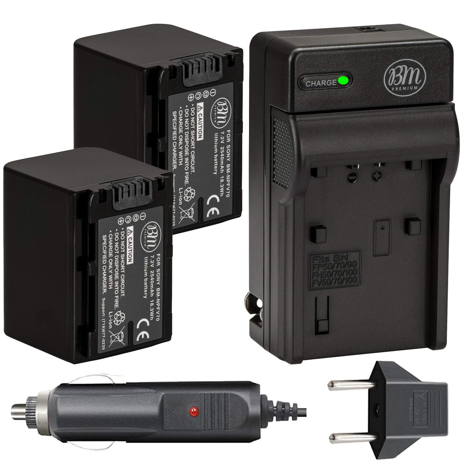 BM 2 NP-FV70 Batteries and Charger Kit for Sony FDR-AX53 FDR-AX700 HDR-CX455/B HDR-CX675/B HDR-CX900 HDR-PJ340 HDR-PJ540 HDR-PJ670/B HDR-PJ810 FDR-AX33/B FDR-AX100 Handycam Camcorder