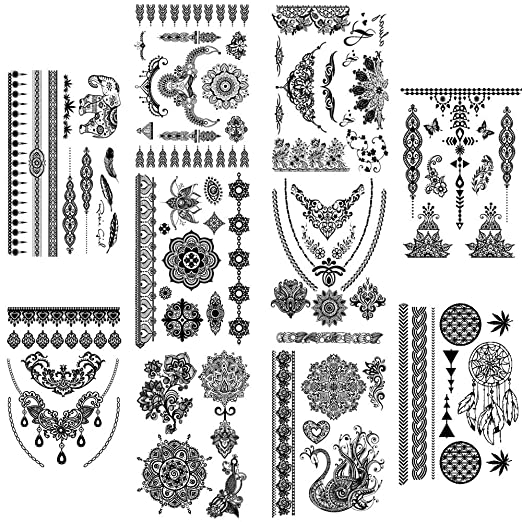 b64a0c0b8ae2 Amazon.com : Yesallwas Large Henna Tattoo Stickers For Wedding Black Ink Lace  Henna Paste Women Party Brides Flower Temporary Tattoo 10 Sheet Sexy tatoo  : ...