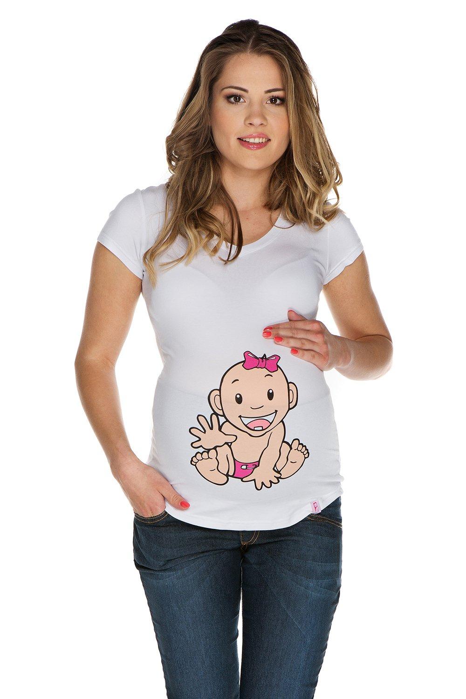 Tshirt premaman Bambina II bianco XL (X-large) Abbigliamento Premaman MY TUMMY ®©™