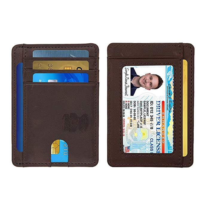 102e2487b443 Slim Minimalist Wallet Thin Leather Credit Card Holder Wallet RFID Blocking  Front Pocket Wallets for Men