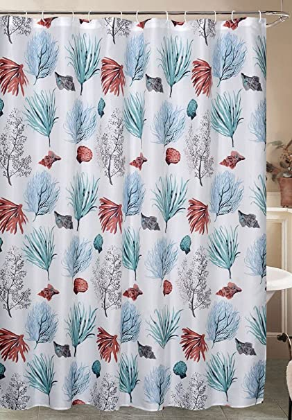 Caribbean Joe Isle Shower Curtain Hook Set One Size White Blue Coral