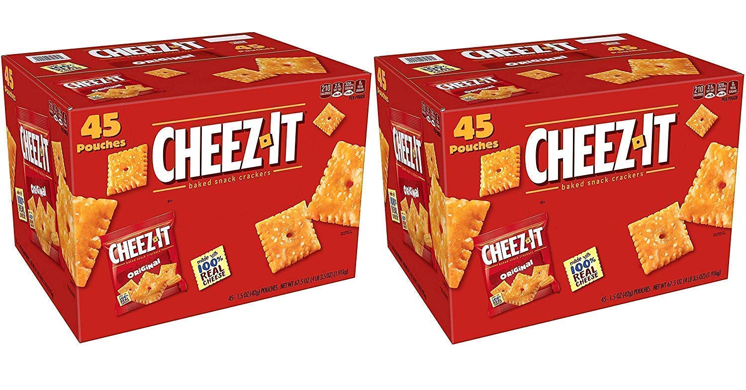 Cheez-It Baked Snack Cheese Crackers, Original, Single Serve, 1.5 Oz (2 Pack 45 Count)