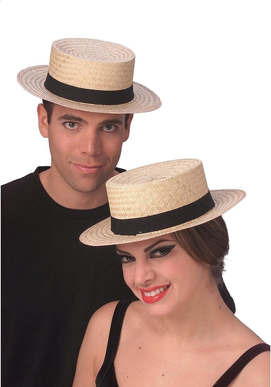 Rubie's Straw Sailor Hat Skimmer Boater Amish Costume Accessory Hat Medium Large