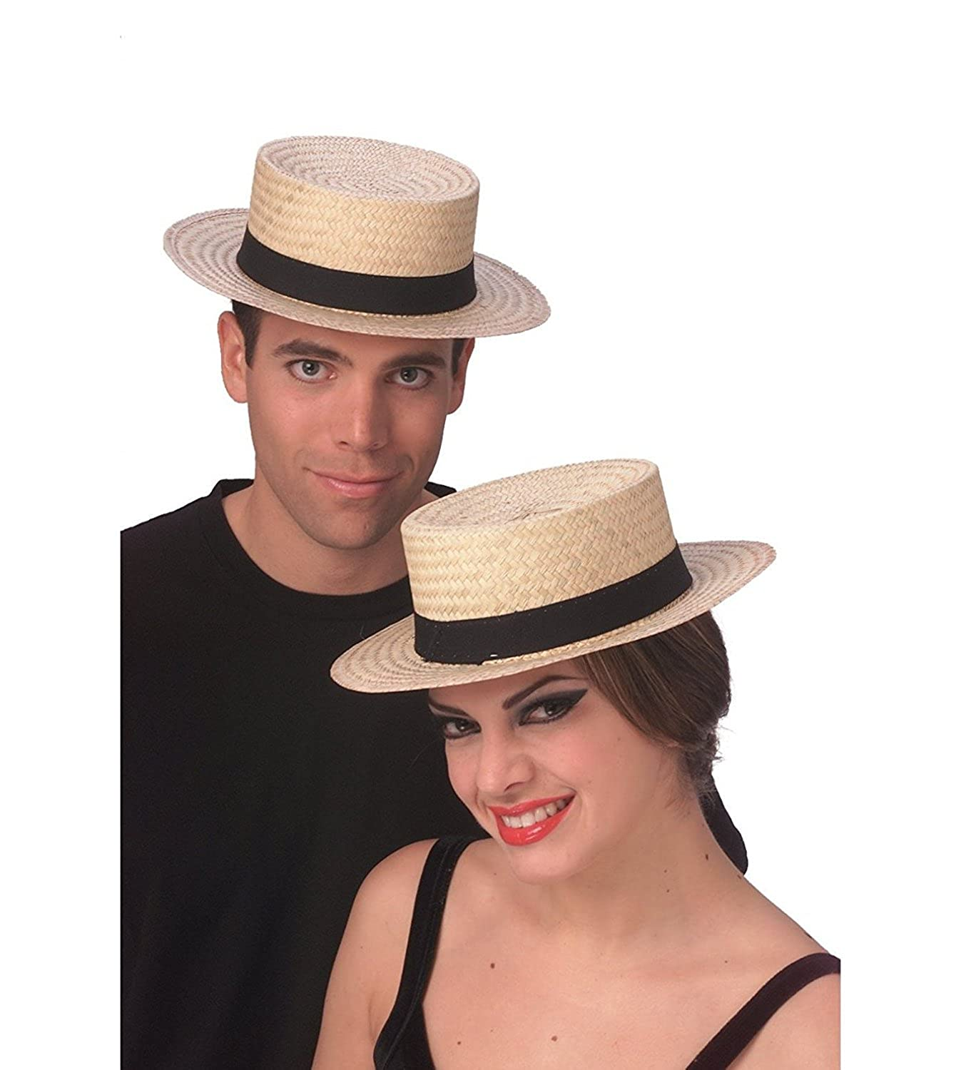 1920s Mens Hats & Caps | Gatsby, Peaky Blinders, Gangster Rubies Straw Sailor Hat Skimmer Boater Amish Costume Accessory Hat Medium Large $41.95 AT vintagedancer.com
