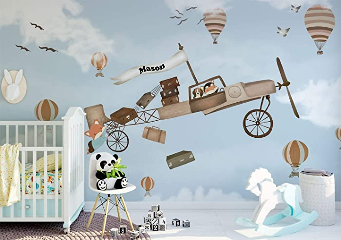 Little Pilot Wallpaper For Kids Bedroom Playroom Hot Air Balloon And Airplane Removable Wall Mural For Nursery Self Adhesive Fabric Wall Decal