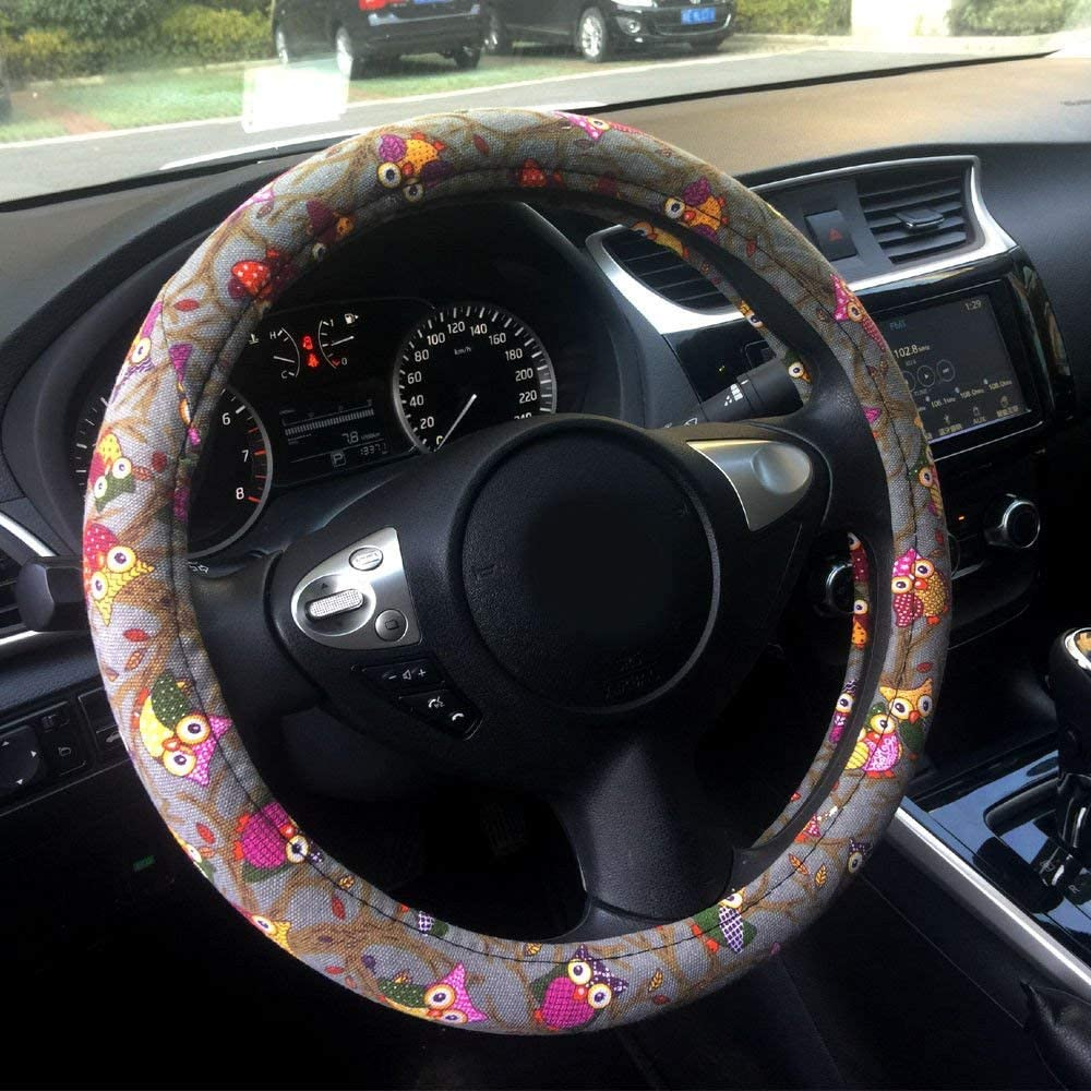 Amuahua Automotive Ethnic Flax Sofy Cute Colorful Owl Car Steering Wheel Cover 15 //38cm