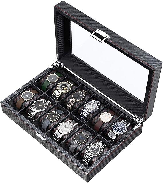 CRITIRON 12 Slot Caja para Relojes de Fibra de Carbono ...