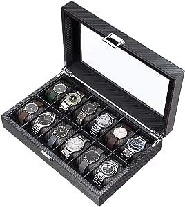 CRITIRON 12 Slot Caja para Relojes de Fibra de Carbono, Organizador de Relojes para Hombres, Caja para Relojes y Joyas: Amazon.es: Relojes