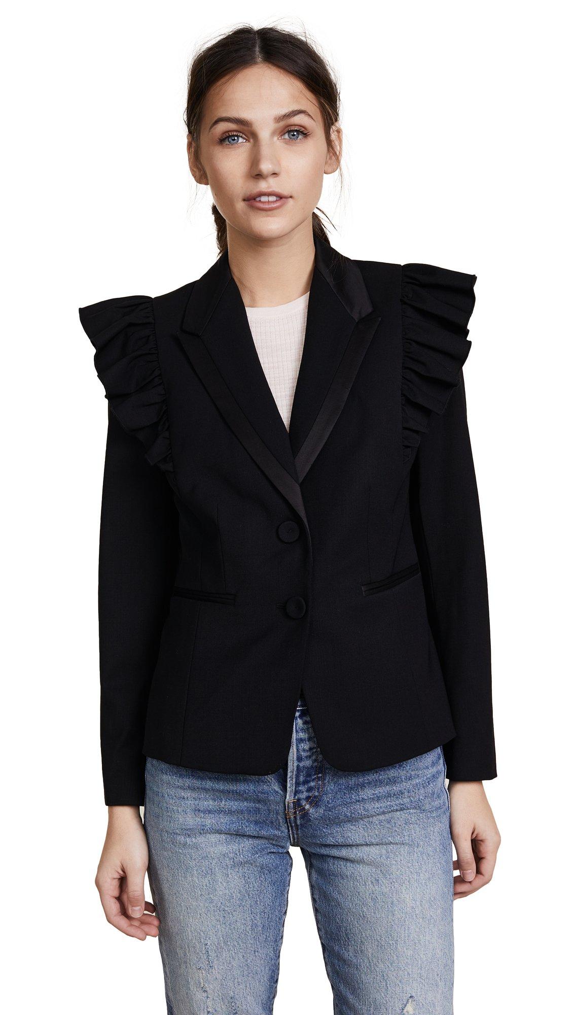 Rebecca Taylor Women's Tuxedo Wool Ruffle Blazer, Black, 00