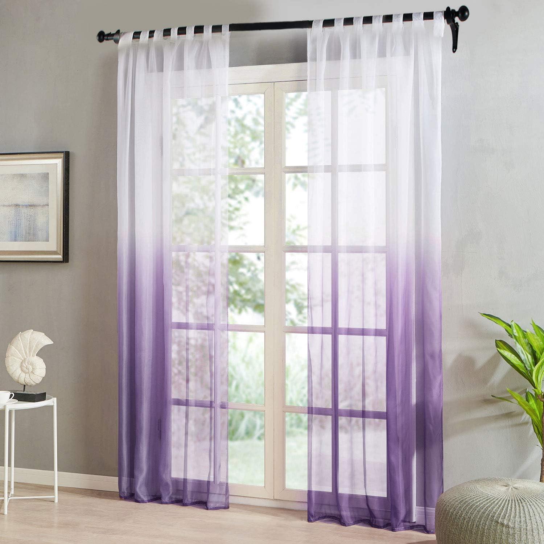 HxB Topfinel Farbverlauf Vorh/änge mit Schlaufen Transparente Gardinen T/üll und Voil Schlaufenschal f/ür Fenster Schlafzimmer und Wohnzimmer 2er Set je 145x140cm Pink