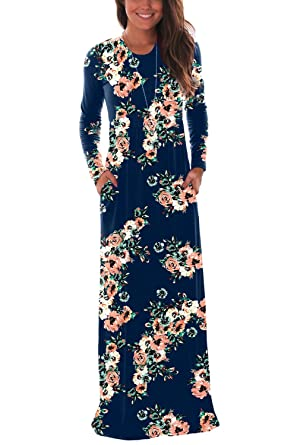 02d12ed250d DawnRaid Navy Floral Maxi Dress Long Sleeve Fall Dresses for Women Party  Wear Long Dress S
