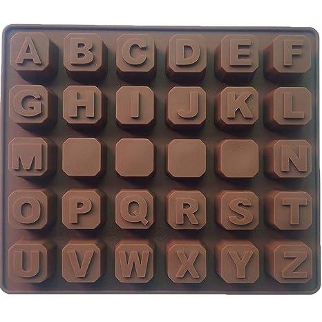 Molde de Silicona de Letras del Alfabeto A-Z para galletas, chocolate, jabón, cubos