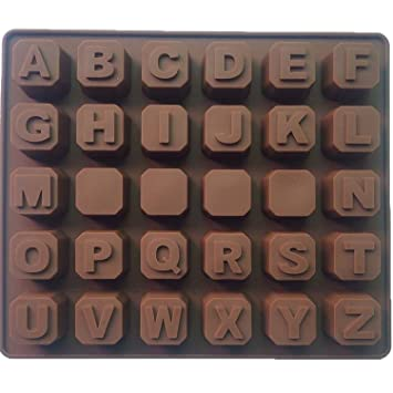 Molde de Silicona de Letras del Alfabeto A-Z para galletas, chocolate, jabón, cubos de hielo: Amazon.es: Hogar