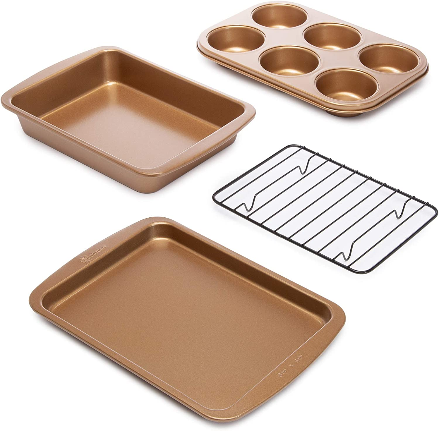 Ecolution Non-Stick Toaster Oven Bakeware Set, 4 Piece, Carbon Steel, Easy to Clean and Perfect for Single Servings, Size, Copper
