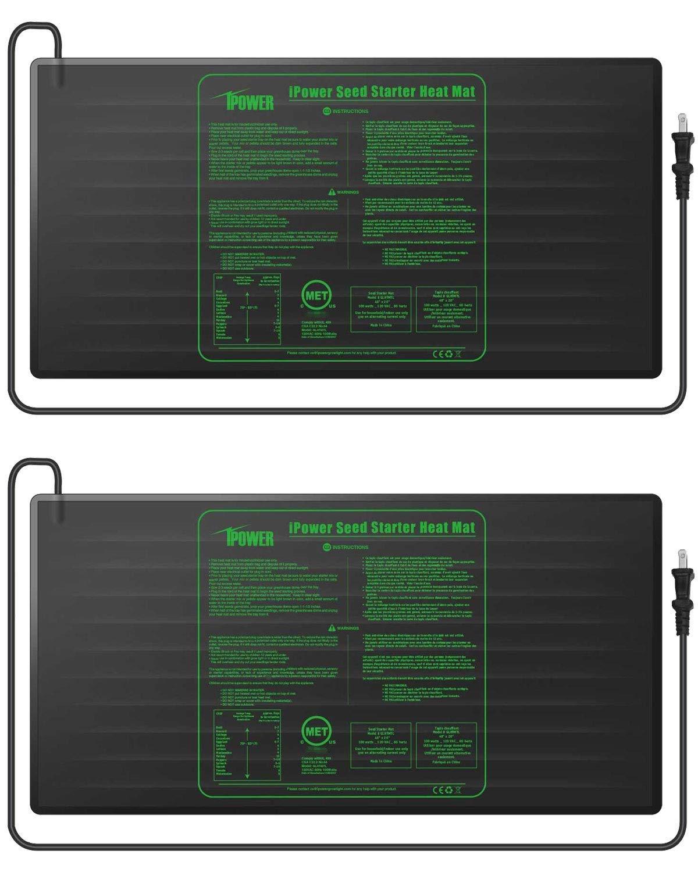iPower GLHTMTLX2 2-Pack Durable Waterproof Seedling 48'' x 20'' Warm Hydroponic Heating Pad MET Standard, Black by iPower (Image #1)