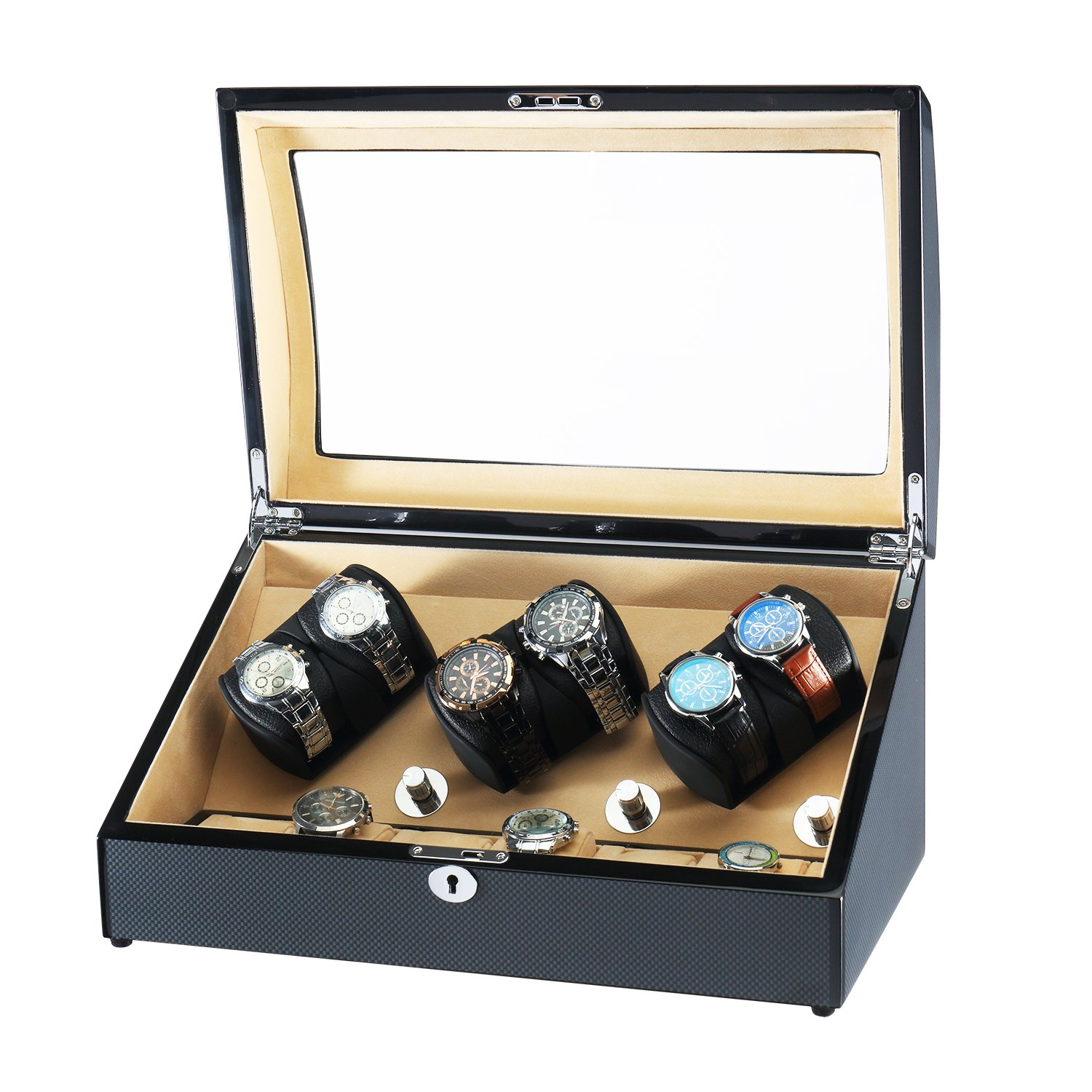 OLYMBROS Wooden Automatic Watch Winder with Extra Storages Spaces for Watches with LED Light