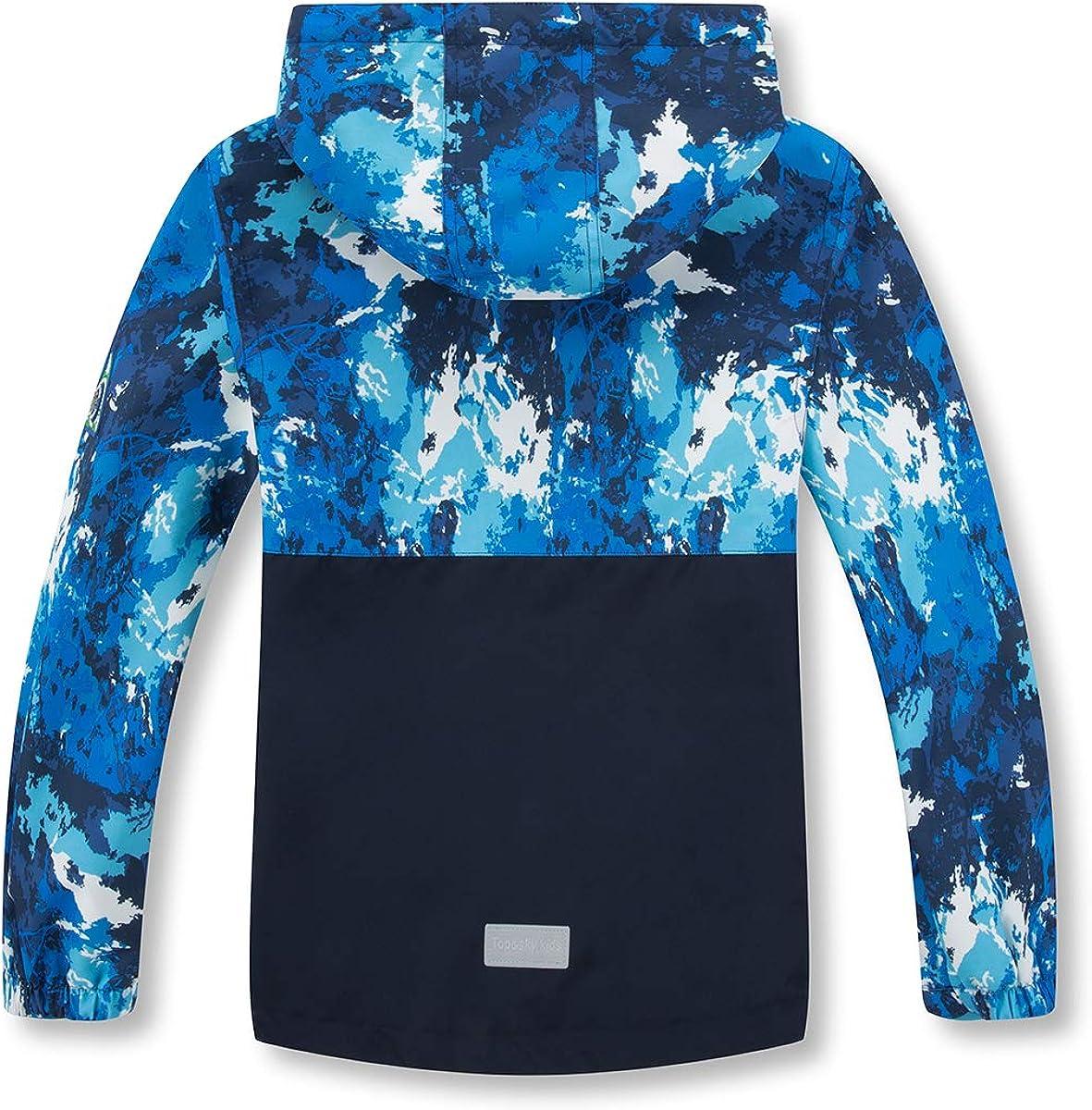 Boys Rain Jackets Lightweight Waterproof Hooded Raincoats Windbreakers for Kids Blue 8//9