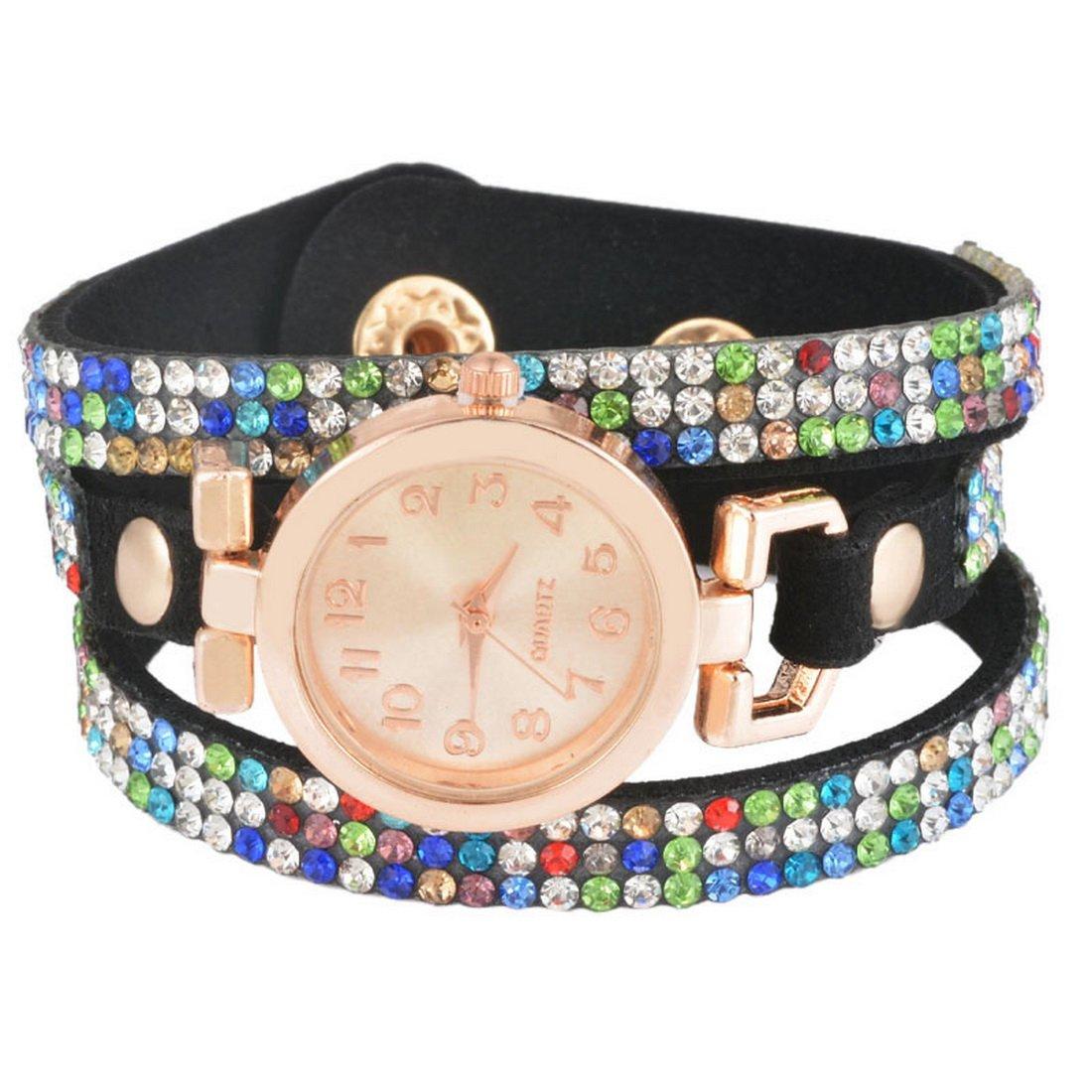 db96cdb3fd9142 MJARTORIA Damen Strass Boho Armbanduhr Elegant Klein Mode Damenuhr Analog  Quarz Uhr Schwarz: Amazon.de: Uhren