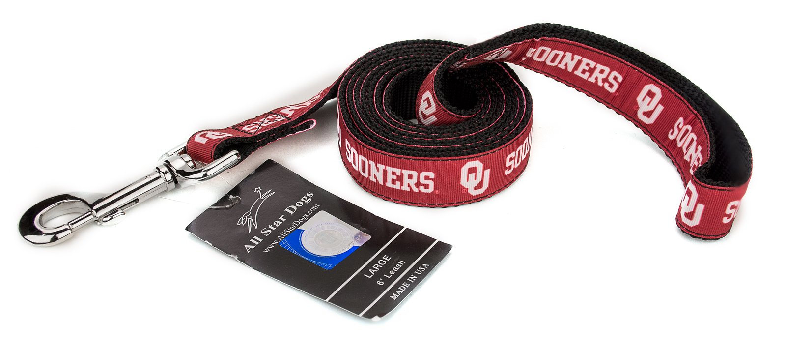 All Star Dogs 3/4 Inch Oklahoma Sooners Ribbon Dog Leash - 6 Foot by All Star Dogs