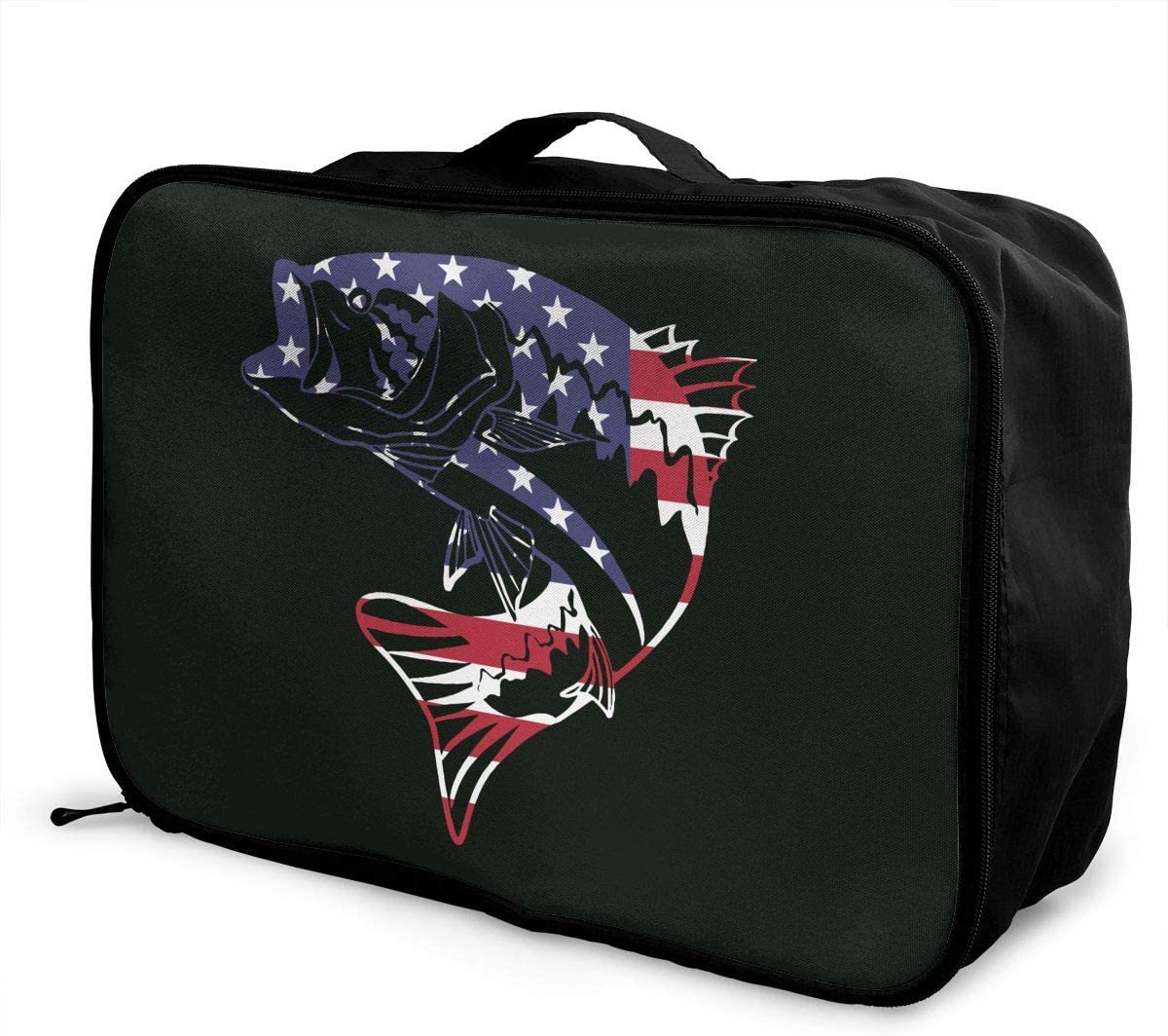 Retro American Flag /& Bass Fishing Carry Lightweight Large Capacity Portable Outdoor Luggage Trolley Bag