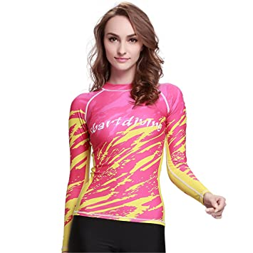 78ba984913 SANANG Women Quick-dry Surfing Diving Rash Guard Top Anti-Sun Wetsuit Shirt  Long