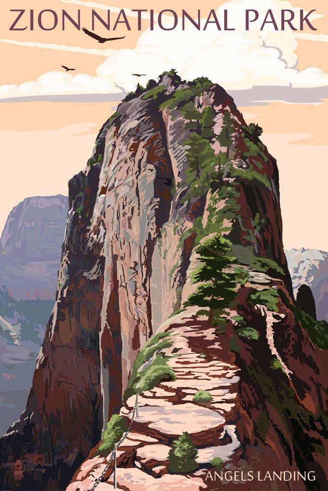 ザイオン国立公園 – Angels Landing and Condors 36 x 54 Giclee Print LANT-43114-36x54 36 x 54 Giclee Print  B017E9TYJM